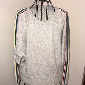 Express One Eleven Rainbow Varsity Stripe Sweatsh.